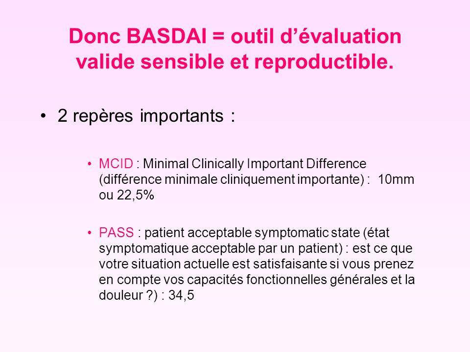 Donc BASDAI = outil dévaluation valide sensible et reproductible. 2 repères importants : MCID : Minimal Clinically Important Difference (différence mi