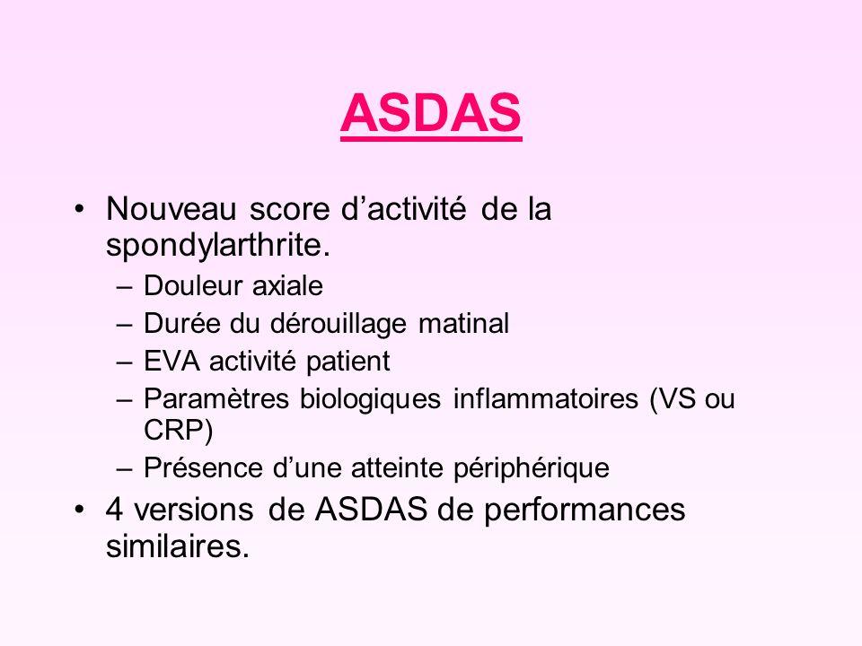 ASDAS Nouveau score dactivité de la spondylarthrite. –Douleur axiale –Durée du dérouillage matinal –EVA activité patient –Paramètres biologiques infla