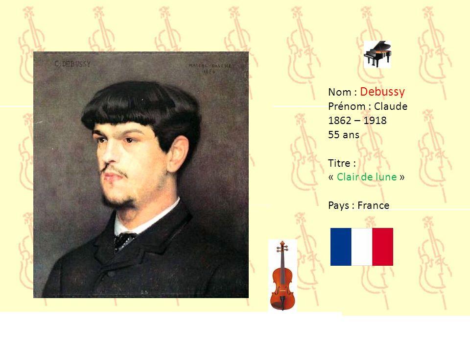 Nom : Brahms Prénom : Johannes 1833 – 1897 64 ans Titre : « Danse Hongroise n°5 » Pays : Allemagne