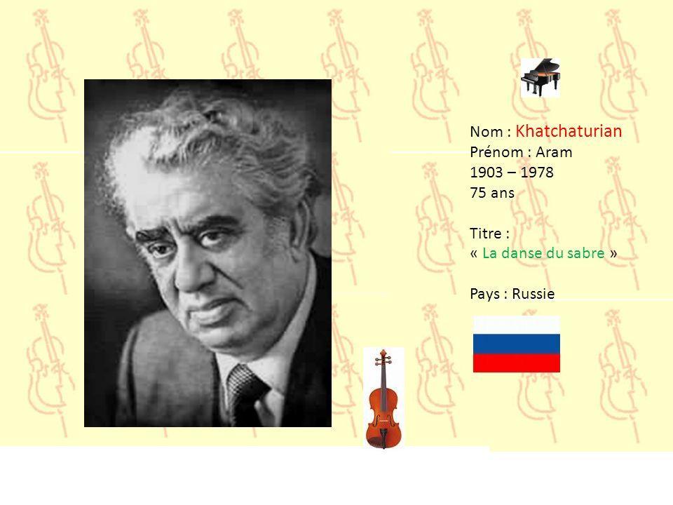 Nom : Grieg Prénom : Edvard 1843– 1907 64 ans Titre : « Peer Gynt » Pays : Norvége