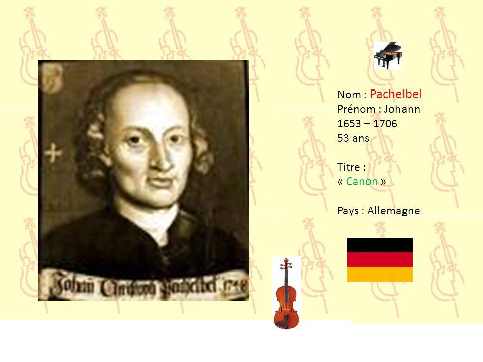 Nom : Orff Prénom : Carl 1895 – 1982 87 ans Titre : « Carmina Burana - O Fortuna » Pays : Allemagne