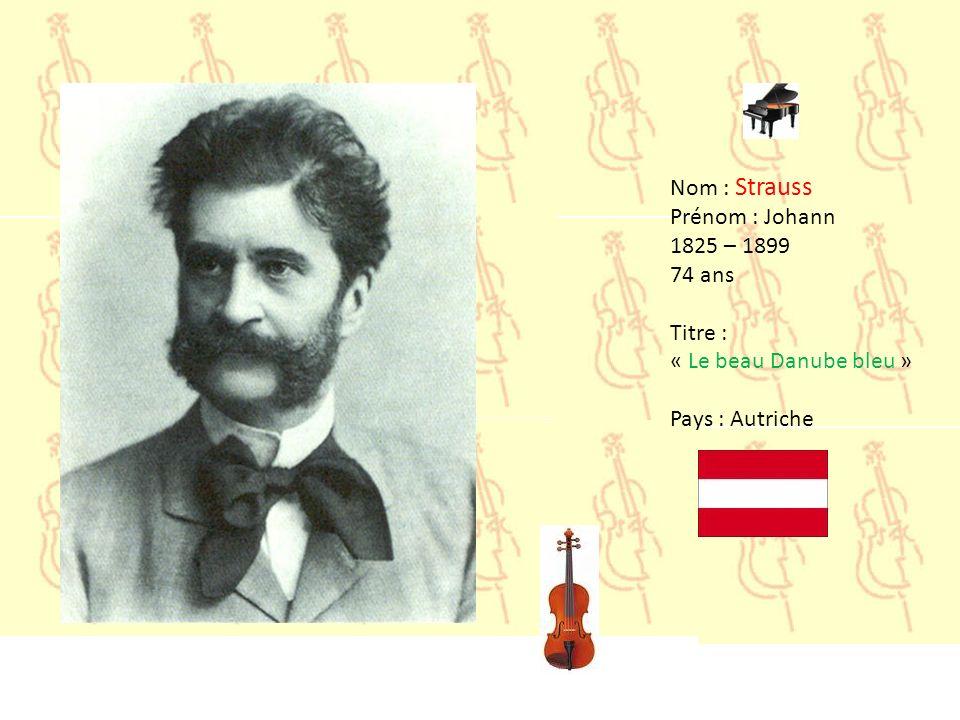 Nom : Smetana Prénom : Bedrich 1824 – 1884 60 ans Titre : « La Moldau » Pays : Tchécoslovaquie