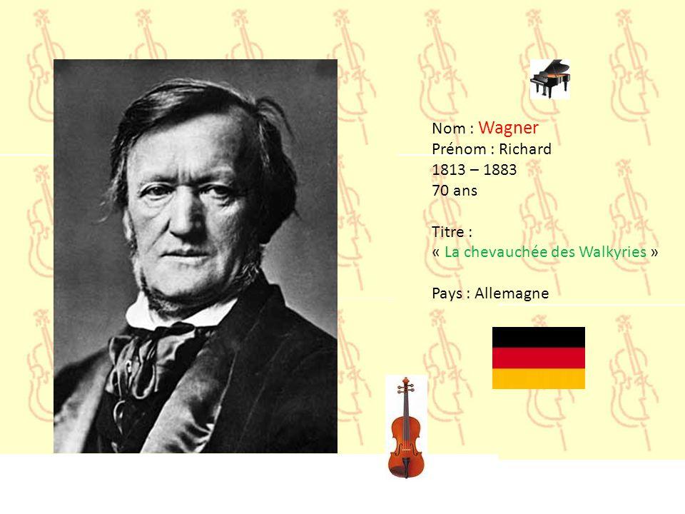 Nom : Vivaldi Prénom : Antonio 1678 – 1741 63 ans Titre : « Concerto pour mandoline » Pays : Italie