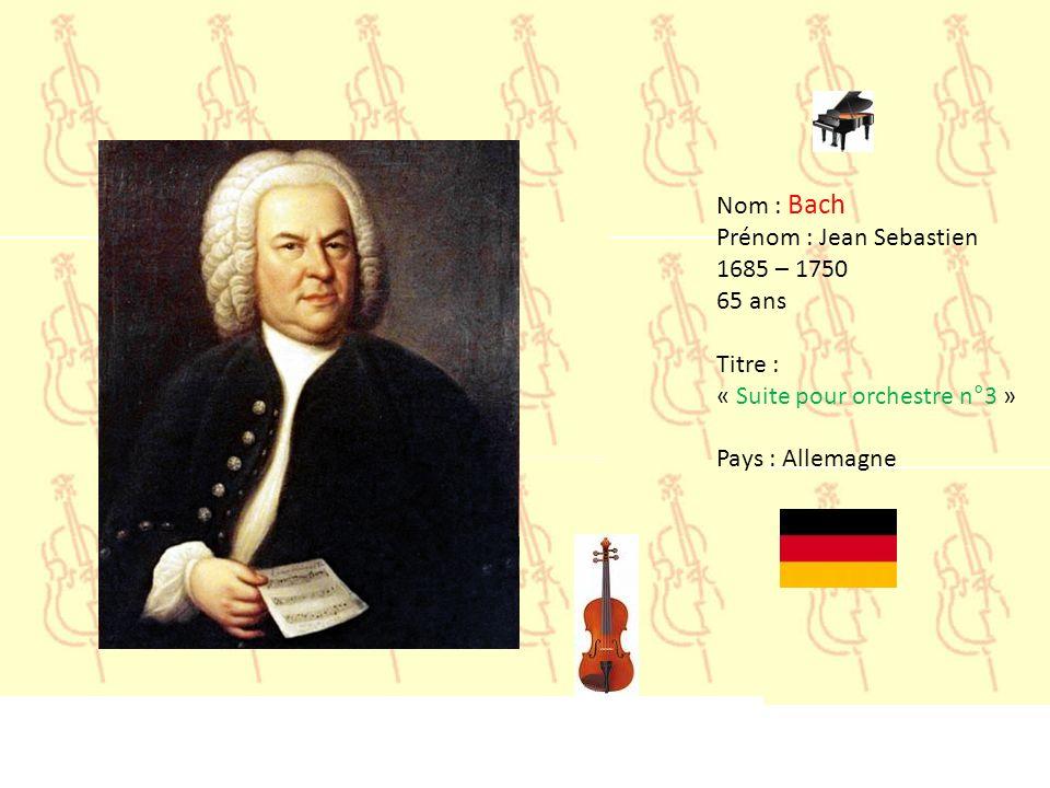 Nom : Albinoni Prénom : Tomaso 1671 – 1751 80 ans Titre : « l Adagio » Pays : Italie
