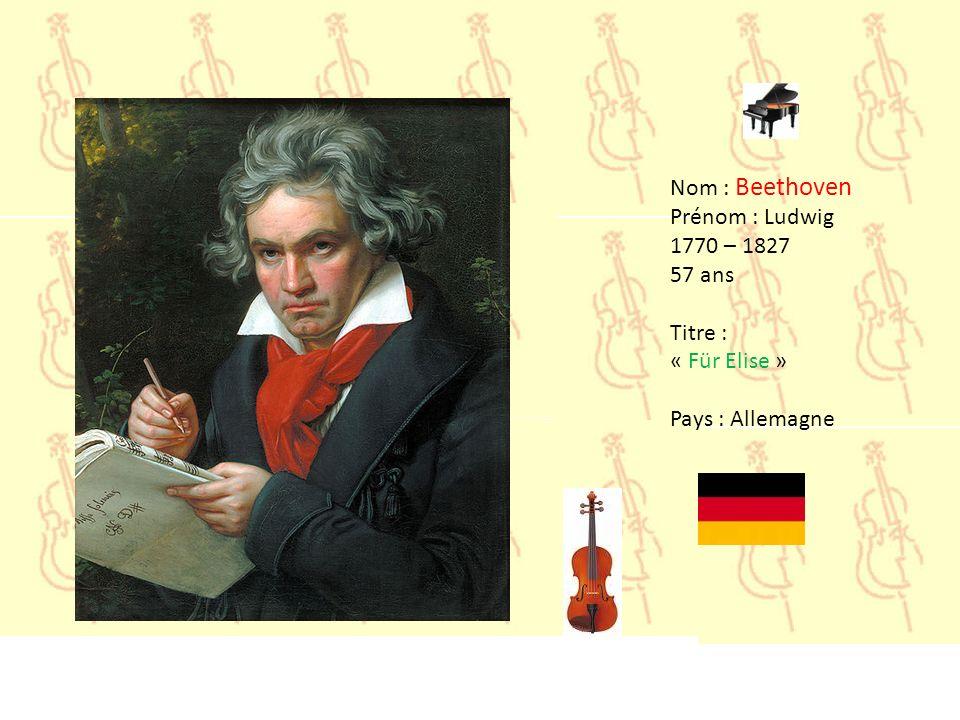 Nom : Bach Prénom : Jean Sebastien 1685 – 1750 65 ans Titre : « Suite pour orchestre n°3 » Pays : Allemagne
