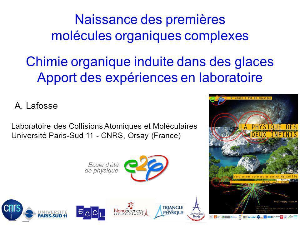 Naissance des premières molécules organiques complexes Chimie organique induite dans des glaces Apport des expériences en laboratoire 07/12/06 Laborat