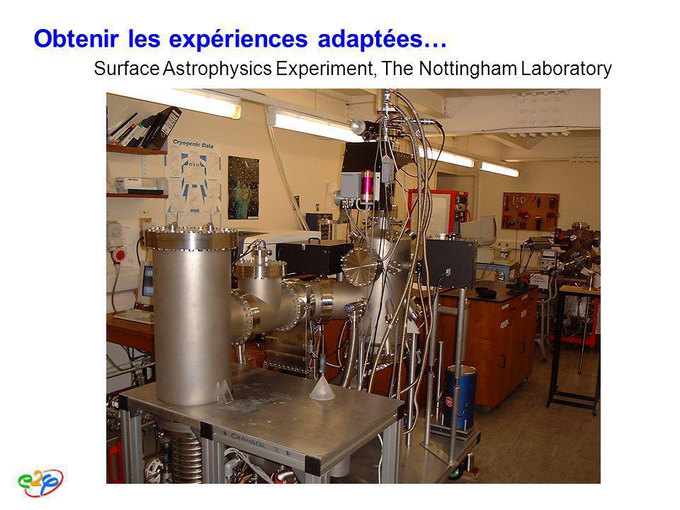 Surface Astrophysics Experiment, The Nottingham Laboratory Obtenir les expériences adaptées…