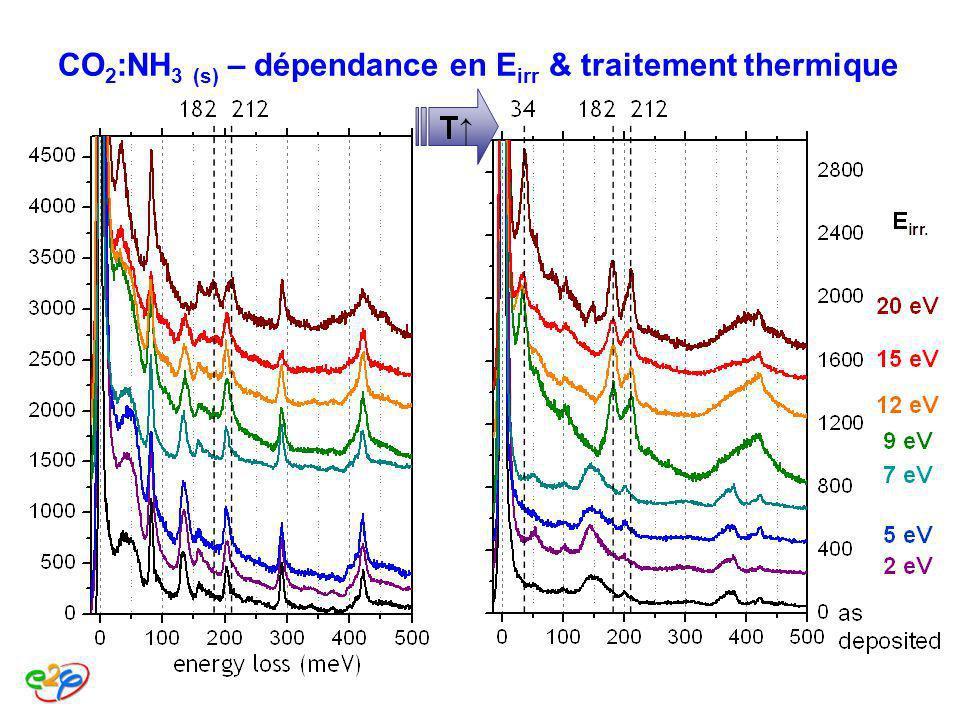 CO 2 :NH 3 (s) – dépendance en E irr & traitement thermique