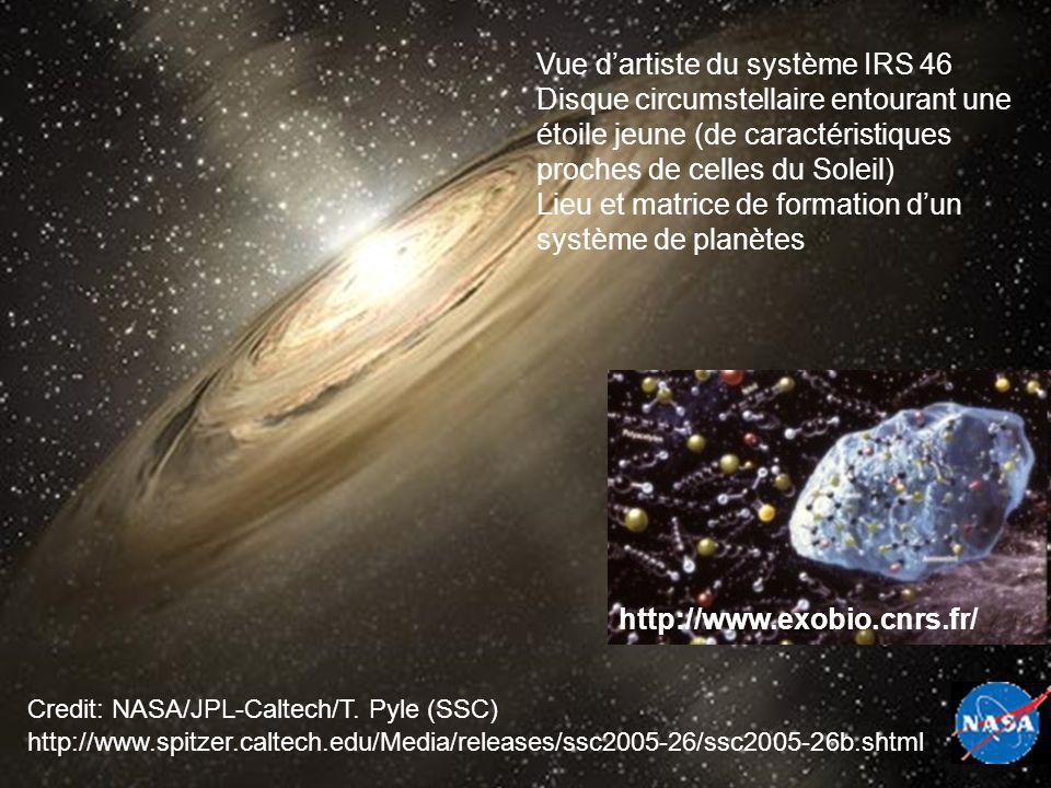 http://www.spitzer.caltech.edu/Media/releases/ssc2005-26/ssc2005-26b.shtml Credit: NASA/JPL-Caltech/T. Pyle (SSC) Vue dartiste du système IRS 46 Disqu