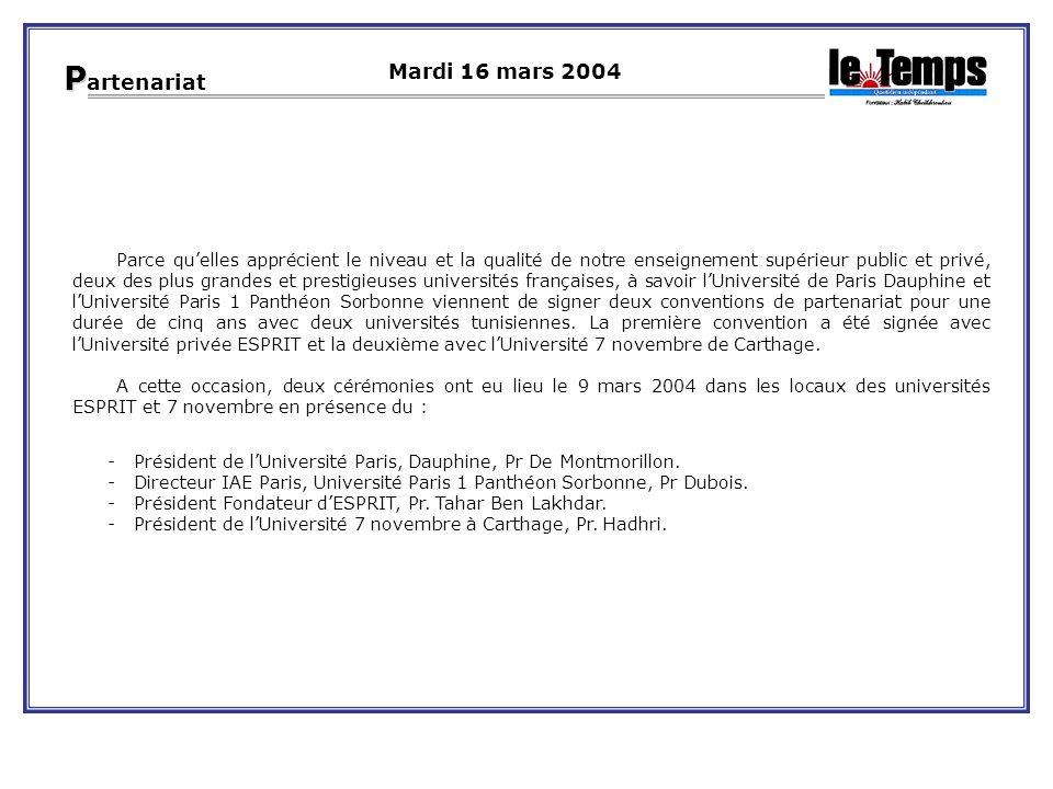 Parce quelles apprécient le niveau et la qualité de notre enseignement supérieur public et privé, deux des plus grandes et prestigieuses universités françaises, à savoir lUniversité de Paris Dauphine et lUniversité Paris 1 Panthéon Sorbonne viennent de signer deux conventions de partenariat pour une durée de cinq ans avec deux universités tunisiennes.