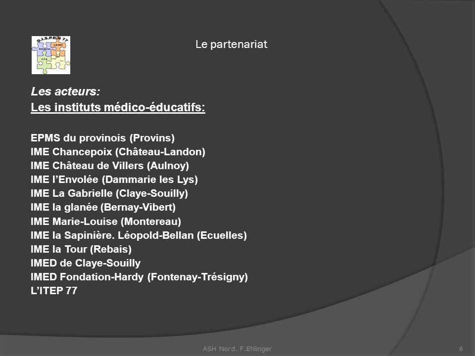 Le partenariat Les acteurs: Les instituts médico-éducatifs: EPMS du provinois (Provins) IME Chancepoix (Château-Landon) IME Château de Villers (Aulnoy) IME lEnvolée (Dammarie les Lys) IME La Gabrielle (Claye-Souilly) IME la glanée (Bernay-Vibert) IME Marie-Louise (Montereau) IME la Sapinière.
