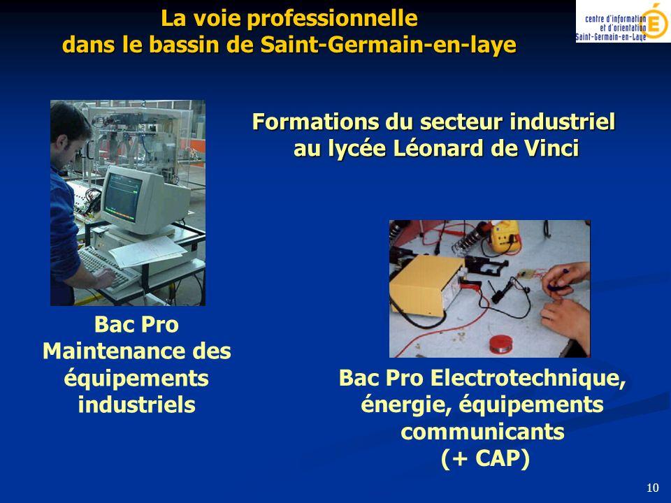 Formations du secteur industriel au lycée Léonard de Vinci Bac Pro Maintenance des équipements industriels Bac Pro Electrotechnique, énergie, équipeme