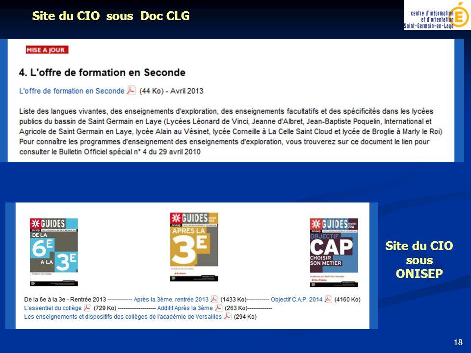 Site du CIO sous Doc CLG Site du CIO sous ONISEP 18