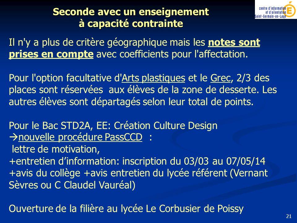 21 I Il n'y a plus de critère géographique mais les notes sont prises en compte avec coefficients pour l'affectation. Pour l'option facultative d'Arts
