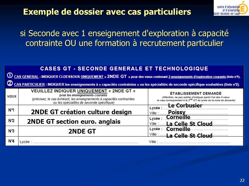 si Seconde avec 1 enseignement d exploration à capacité contrainte OU une formation à recrutement particulier Exemple de dossier avec cas particuliers 2NDE GT section euro.