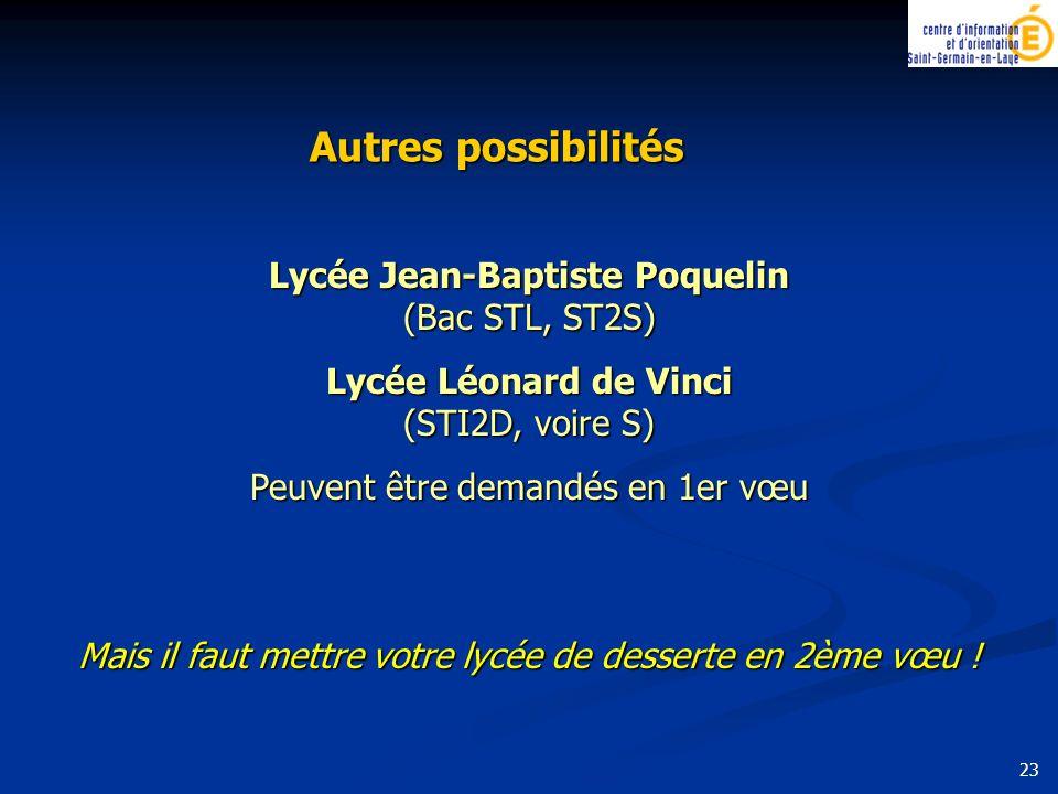 Autres possibilités Lycée Jean-Baptiste Poquelin (Bac STL, ST2S) Lycée Léonard de Vinci (STI2D, voire S) Peuvent être demandés en 1er vœu Mais il faut