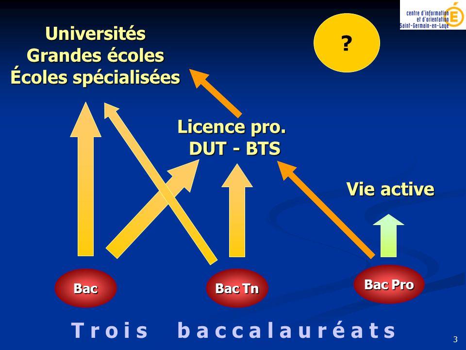 Bac Bac Tn Bac Pro Universités Grandes écoles Écoles spécialisées Licence pro. DUT - BTS Vie active T r o i s b a c c a l a u r é a t s ? 3