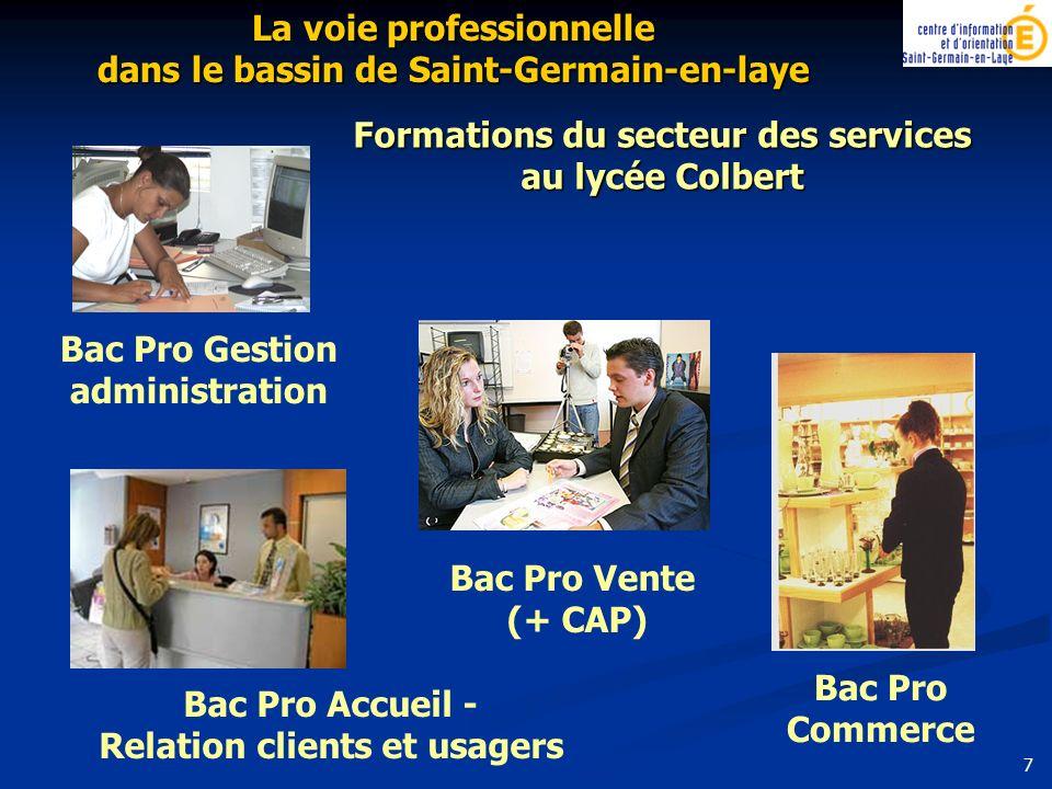 Formations du secteur des services au lycée Colbert Bac Pro Gestion administration La voie professionnelle dans le bassin de Saint-Germain-en-laye Bac Pro Accueil - Relation clients et usagers Bac Pro Vente (+ CAP) Bac Pro Commerce 7