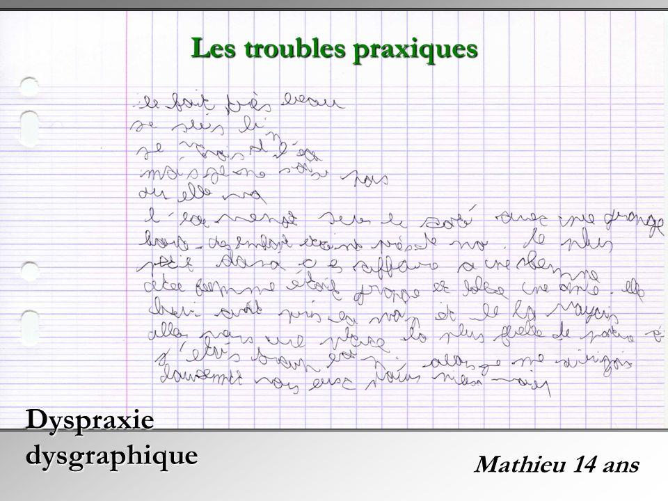 Mathieu 14 ans Dyspraxie dysgraphique Les troubles praxiques