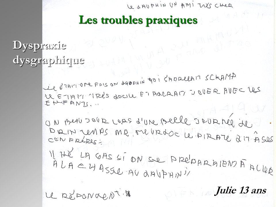 Julie 13 ans Dyspraxie dysgraphique Les troubles praxiques
