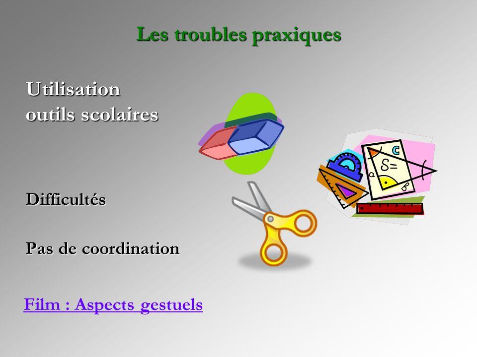 Difficultés Pas de coordination Utilisation outils scolaires Les troubles praxiques Film : Aspects gestuels