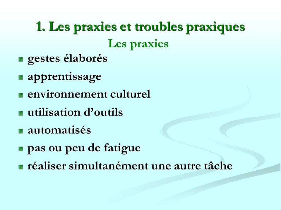 1. Les praxies et troubles praxiques gestes élaborés apprentissage environnement culturel utilisation doutils automatisés pas ou peu de fatigue réalis