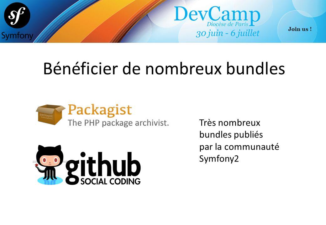 Bénéficier de nombreux bundles Très nombreux bundles publiés par la communauté Symfony2