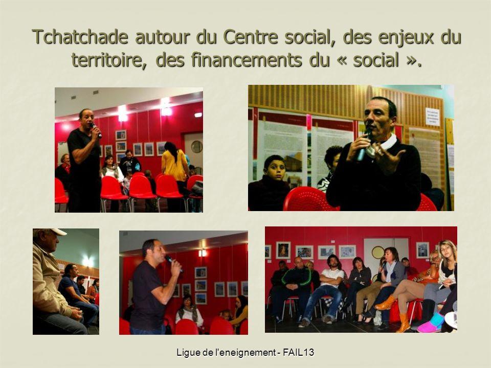 Tchatchade autour du Centre social, des enjeux du territoire, des financements du « social ». Ligue de l'eneignement - FAIL13