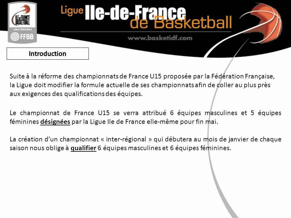 Le championnat de France U15 se verra attribué 6 équipes masculines et 5 équipes féminines désignées par la Ligue Ile de France elle-même pour fin mai