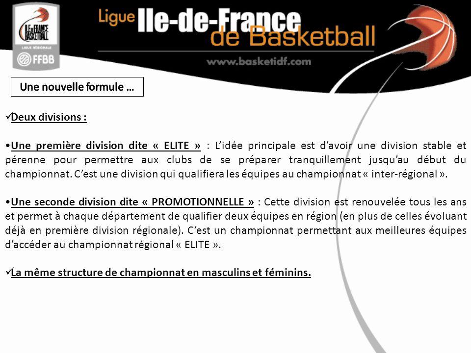 Deux divisions : Une première division dite « ELITE » : Lidée principale est davoir une division stable et pérenne pour permettre aux clubs de se préparer tranquillement jusquau début du championnat.
