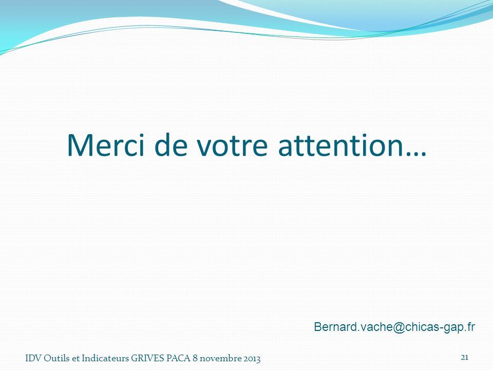 Merci de votre attention… IDV Outils et Indicateurs GRIVES PACA 8 novembre 2013 21 Bernard.vache@chicas-gap.fr