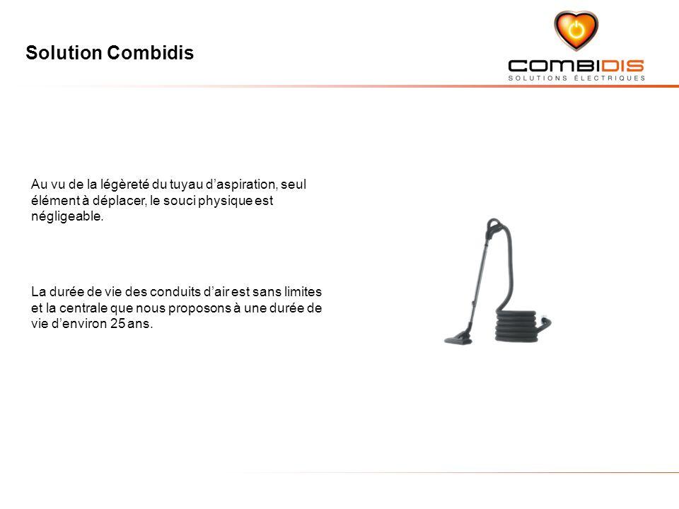 Solution Combidis Au vu de la légèreté du tuyau daspiration, seul élément à déplacer, le souci physique est négligeable.