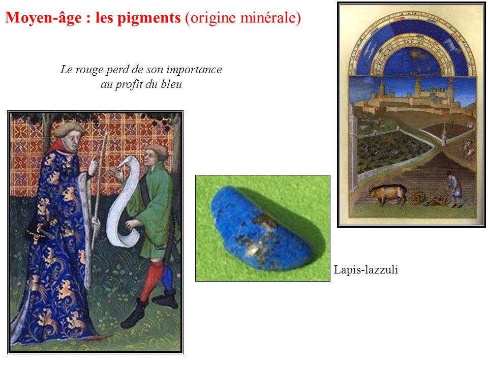Moyen-âge : les pigments (origine minérale) Le rouge perd de son importance au profit du bleu Lapis-lazzuli