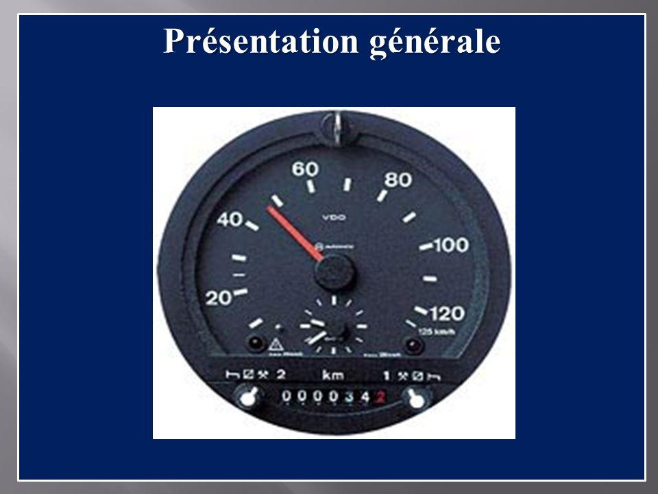 Présentation générale 1 2 3 4 5 6 7 1.Dispositif douverture du boitier 2.Sélecteur des temps dactivités 3.Horloge 4.Indicateur de vitesse 5.Compteur kilométrique 6.Témoin de contrôle danomalies 7.Témoin de dépassement du limiteur de vitesse.