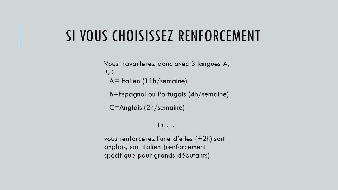 SI VOUS CHOISISSEZ RENFORCEMENT Vous travaillerez donc avec 3 langues A, B, C : Et…..