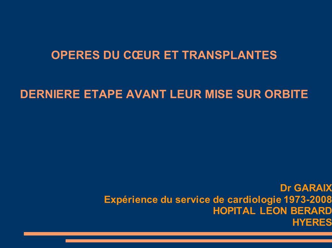 OPERES DU CŒUR ET TRANSPLANTES DERNIERE ETAPE AVANT LEUR MISE SUR ORBITE Dr GARAIX Expérience du service de cardiologie 1973-2008 HOPITAL LEON BERARD