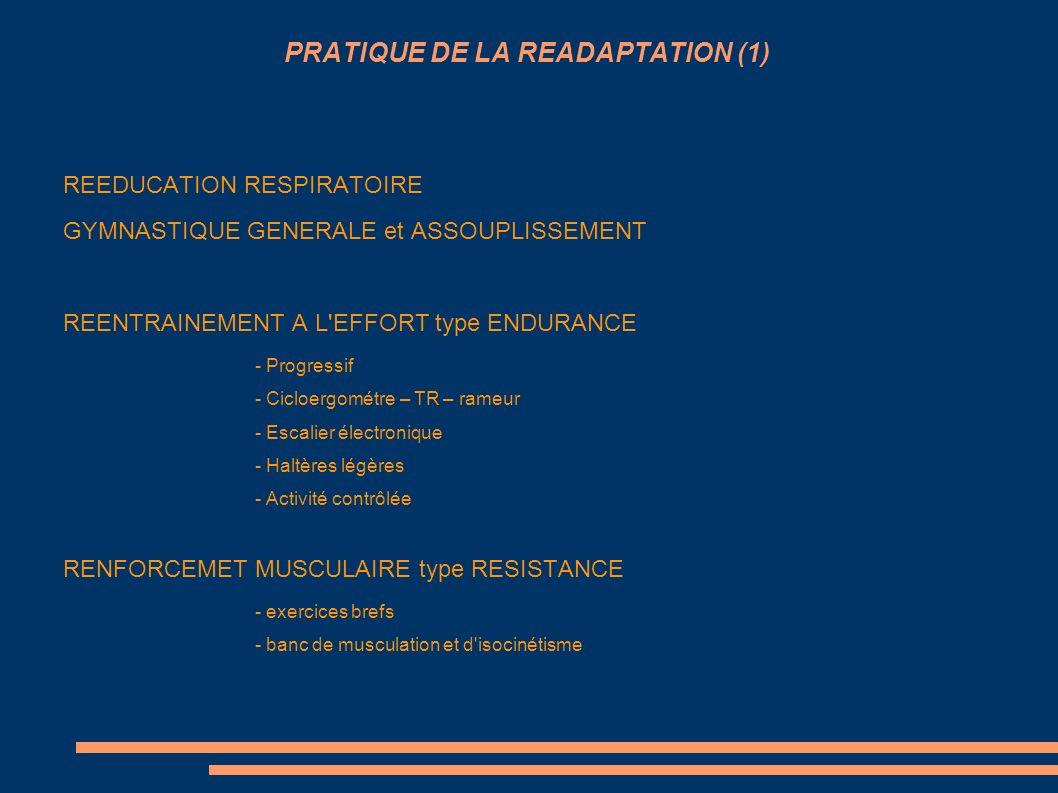 PRATIQUE DE LA READAPTATION (1) REEDUCATION RESPIRATOIRE GYMNASTIQUE GENERALE et ASSOUPLISSEMENT REENTRAINEMENT A L'EFFORT type ENDURANCE - Progressif