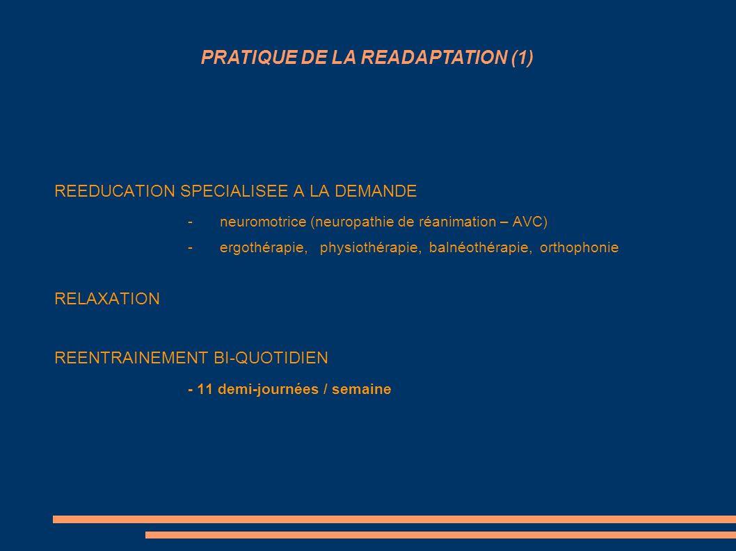 REEDUCATION SPECIALISEE A LA DEMANDE -neuromotrice (neuropathie de réanimation – AVC) -ergothérapie, physiothérapie, balnéothérapie, orthophonie RELAX
