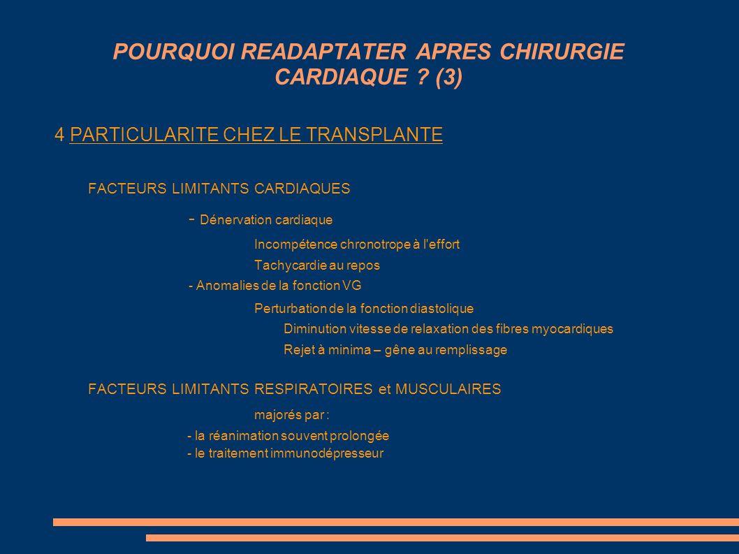 POURQUOI READAPTATER APRES CHIRURGIE CARDIAQUE ? (3) 4 PARTICULARITE CHEZ LE TRANSPLANTE FACTEURS LIMITANTS CARDIAQUES - Dénervation cardiaque Incompé