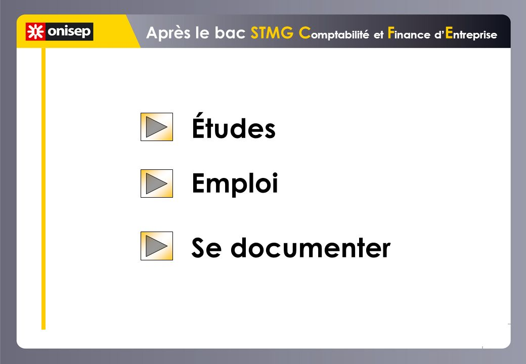 Études Emploi Se documenter Après le bac STMG C omptabilité et F inance d E ntreprise