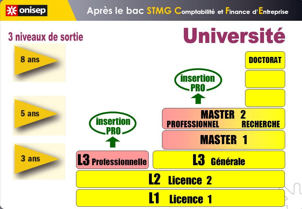 L1 Licence 1 L2 Licence 2 L3 Professionnelle L3 Générale MASTER 1 DOCTORAT insertion PRO insertion PRO MASTER 2 PROFESSIONNEL RECHERCHE Après le bac STMG C omptabilité et F inance d E ntreprise