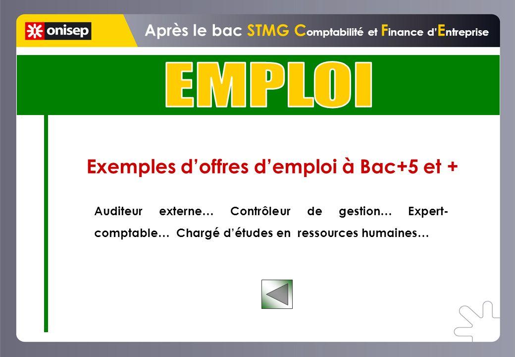 Exemples doffres demploi à Bac+5 et + Après le bac STMG C omptabilité et F inance d E ntreprise Auditeur externe… Contrôleur de gestion… Expert- comptable… Chargé détudes en ressources humaines…