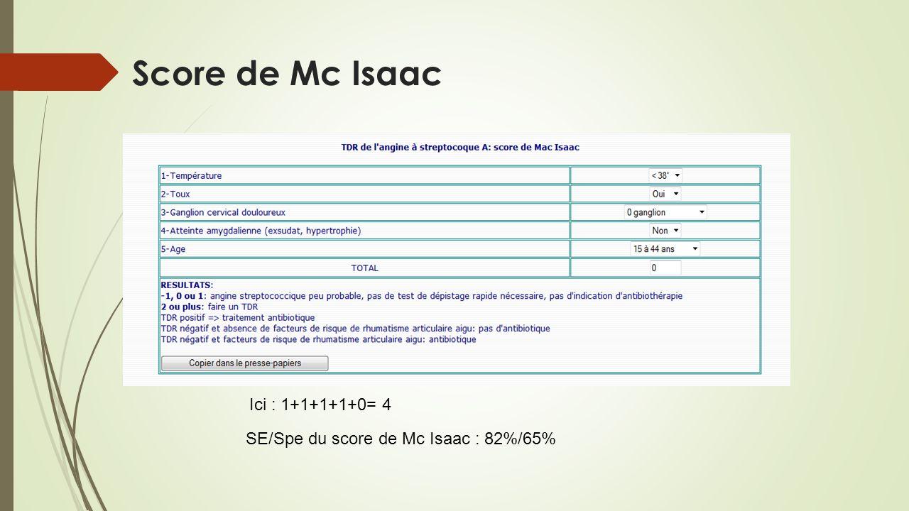 Score de Mc Isaac Ici : 1+1+1+1+0= 4 SE/Spe du score de Mc Isaac : 82%/65%