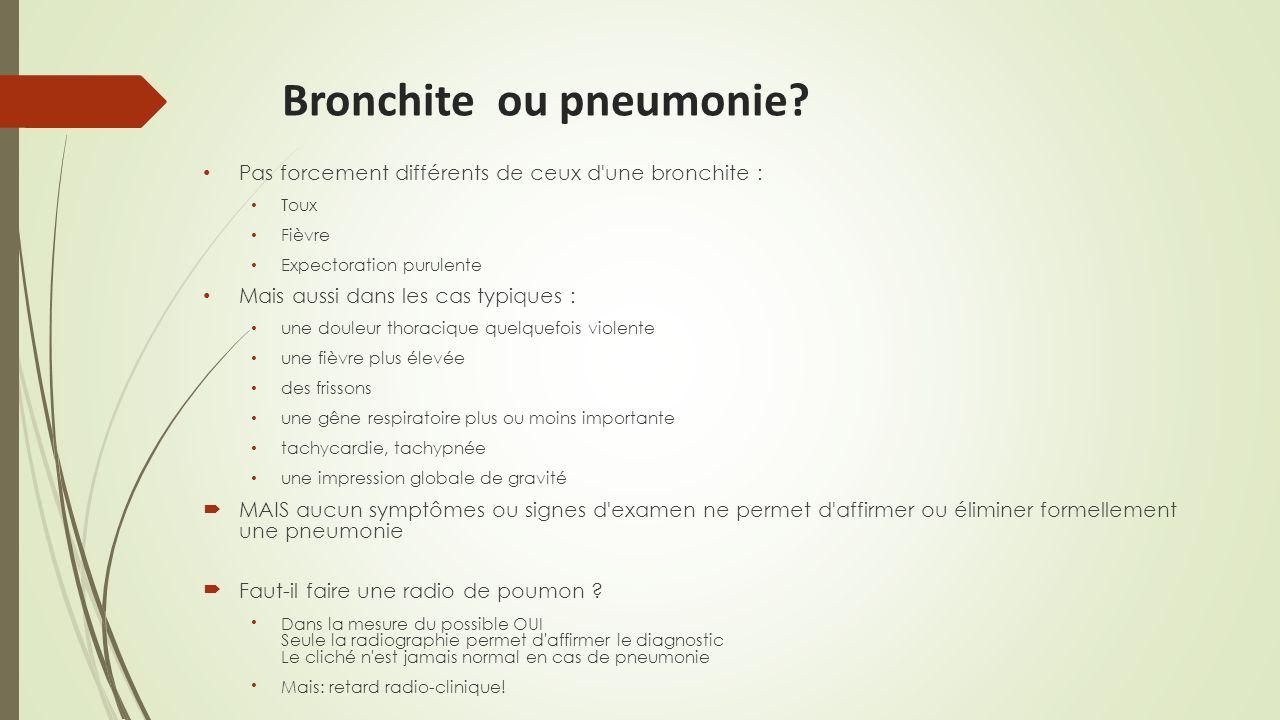 Bronchite ou pneumonie? Pas forcement différents de ceux d'une bronchite : Toux Fièvre Expectoration purulente Mais aussi dans les cas typiques : une