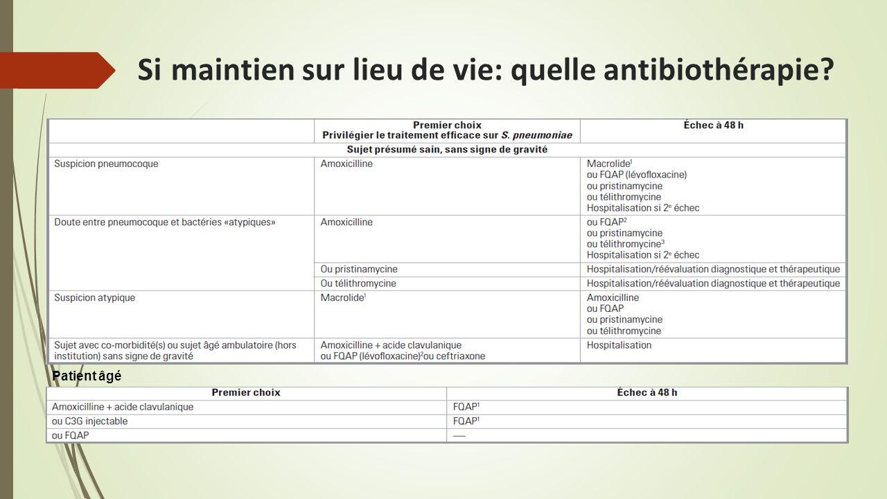 Si maintien sur lieu de vie: quelle antibiothérapie? Patient âgé