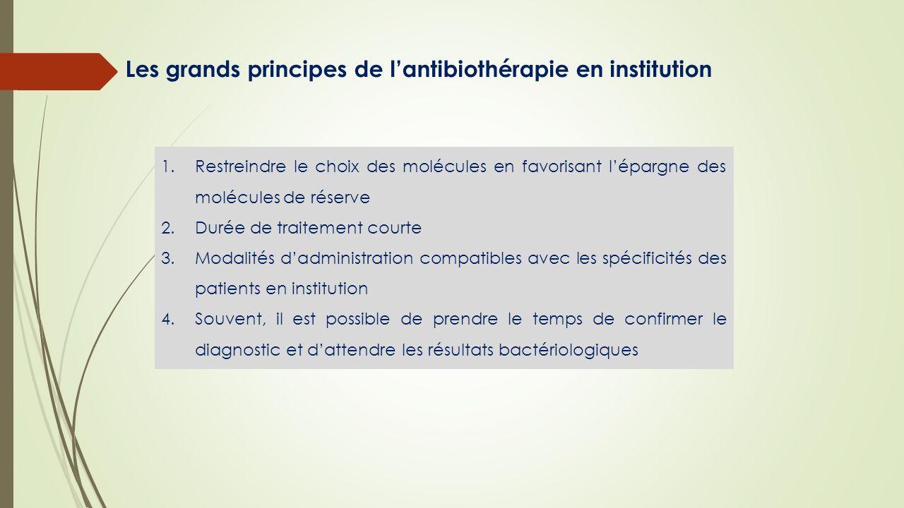 Les grands principes de lantibiothérapie en institution 1.Restreindre le choix des molécules en favorisant lépargne des molécules de réserve 2.Durée d