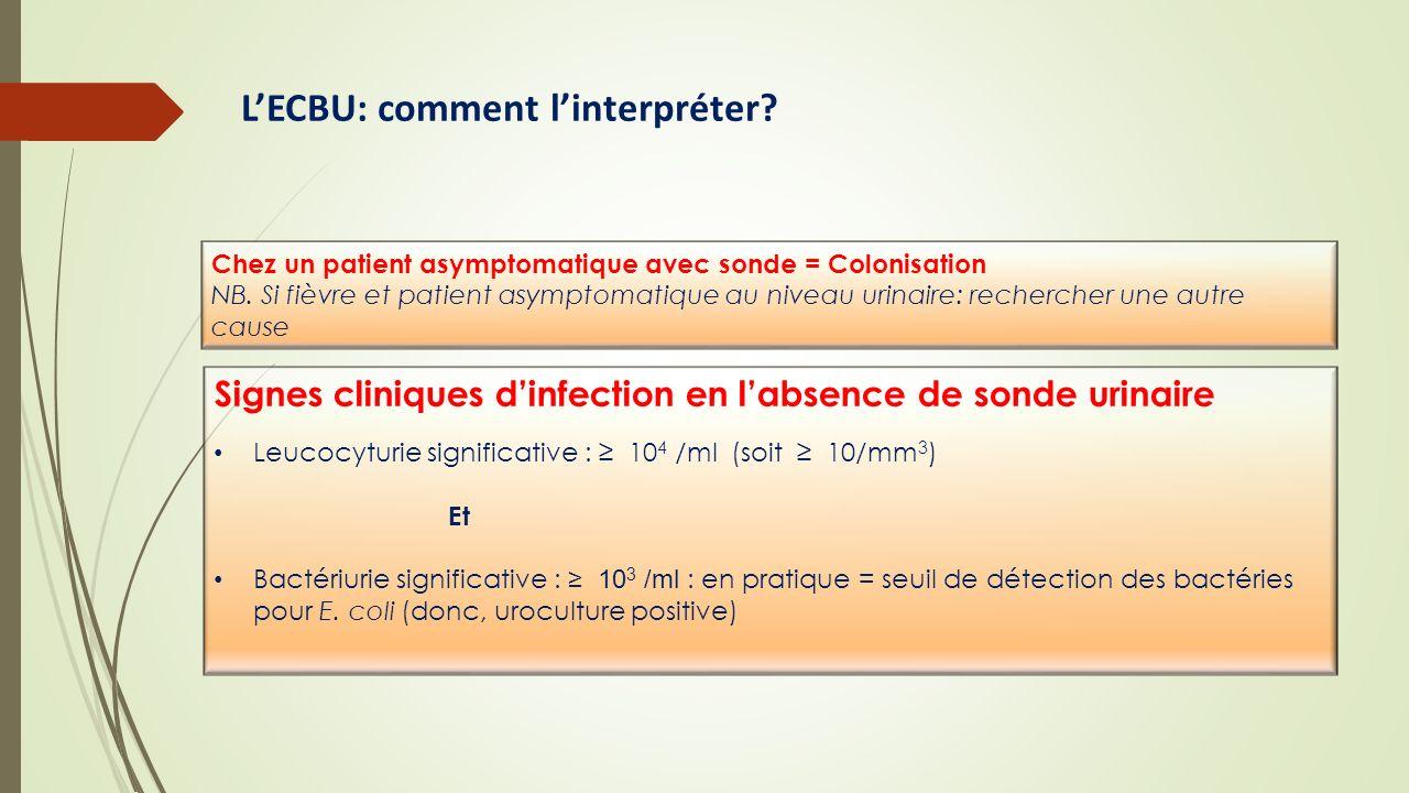 LECBU: comment linterpréter? Signes cliniques dinfection en labsence de sonde urinaire Leucocyturie significative : 10 4 /ml (soit 10/mm 3 ) Et Bactér