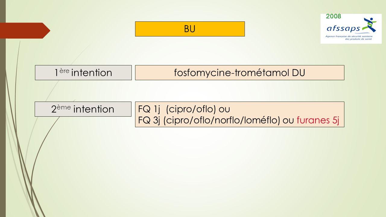 BU 1 ère intention 2 ème intention fosfomycine-trométamol DU FQ 1j (cipro/oflo) ou FQ 3j (cipro/oflo/norflo/loméflo) ou furanes 5j 2008