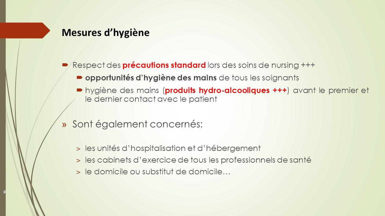 39 Respect des précautions standard lors des soins de nursing +++ opportunités dhygiène des mains de tous les soignants hygiène des mains ( produits h