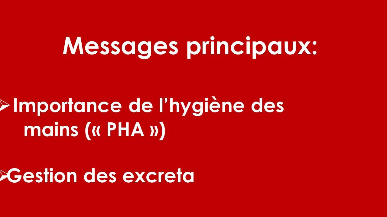 Messages principaux: Importance de lhygiène des mains (« PHA ») Gestion des excreta